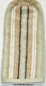 green and tan stripe 2 hanging towel