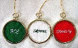 three nametag ornaments