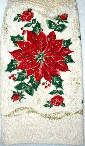 Elegant Poinsettia kitchen Hand Towel