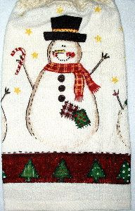 Patches the Snowman Kitchen Hand Towel