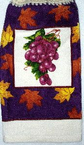 Fall Leaves & Grapes Kitchen Hand Towel