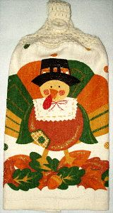 Turkey with ivory yarn top Kitchen Hand Towel