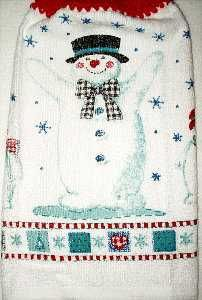 Snowflake Snowman hanging hand towel