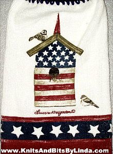 Americana Birdhouse Kitchen Hand Towel