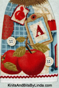 scrapbook apple hanging hand towel