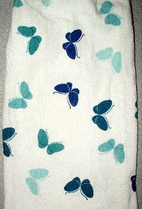 blue butterflies on kitchen hand towel