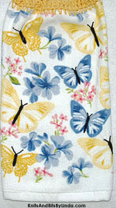 blue and yellow butterflies on hanging kitchen hand towel
