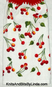 red cherries hanging hand towel