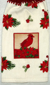 red cardinal applique on kitchen hand towel