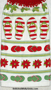 rows of striped and solid flip flops on Christmas hanging hand towel.