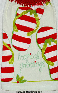 tropical greeting hanging kitchen hand towel for Christmas