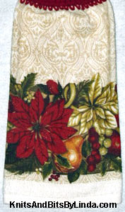 Poinsettia border kitchen hand towel
