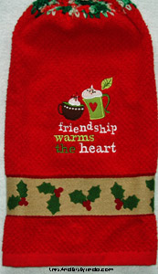 friendship warms the heart christmas hand towel