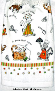 cookin' cats on hanging kitchen hand towel