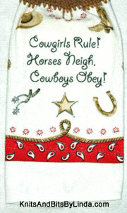 Cowgirls Rule! hanging kitchen hand towel