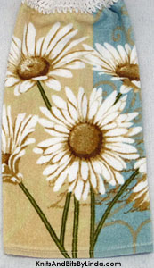 daisies on hanging kitchen hand towel