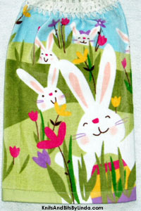 easter bunnies on hanging kitchen hand towel