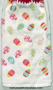 Easter eggs on terry kitchen towel