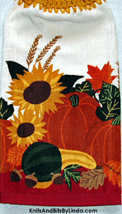 autumn harvest 2 hanging hand towel for the kitchen