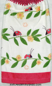ladybugs hanging hand towel