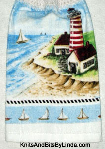 lighthouse and boats hanging kitchen hand towel