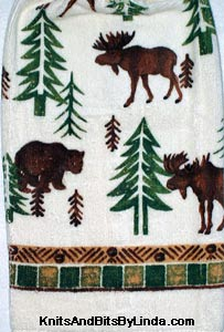 kitchen hand towel with moose and bear
