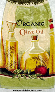 organic oilve oil hanging kitchen hand towel