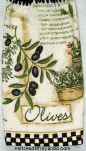 herb and olive kitchen towel