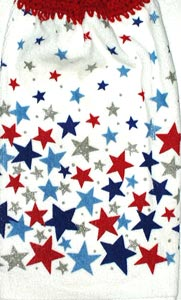 red, blue, silver patriotic stars hand towel