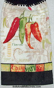 hot and spicy peppers on a kitchen hand towel