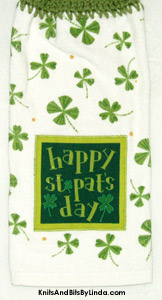 happy st patrick's day hanging hand towel