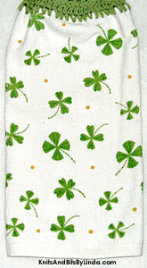 shamrocks on cotton terry hand towel