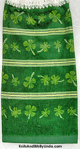 stripe kitchen towel with shamrocks for St Patrick's Day