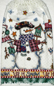let it snow hanging kitchen hand towel