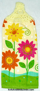 spring daisies on hanging kitchen hand towel