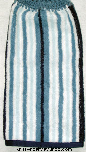 blues stripe hanging hand towel