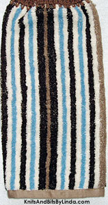 blue and brown stripe hanging hand towel