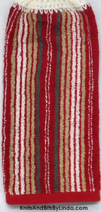 red strip hanging kitchen hand towel