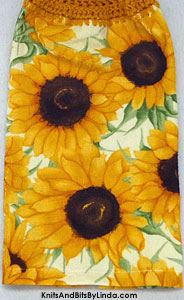 sunflowers on kitchen towel with pale yellow background