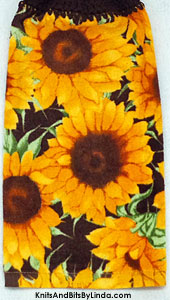 sunflowers on a dark brown background terry towel