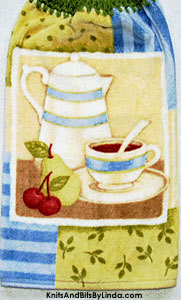 hanging kitchen hand towel with teapot and cup of sweet tea