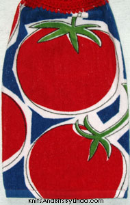 tomatoes on hanging hand towel