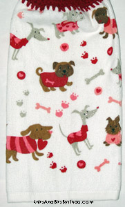 doggies on valentine kitchen towel