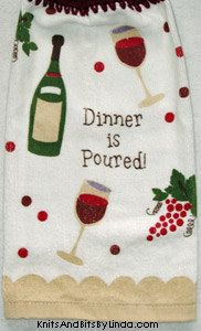 dinner is poured hanging kitchen hand towel close up