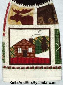 kitchen hand towel with woodsy theme